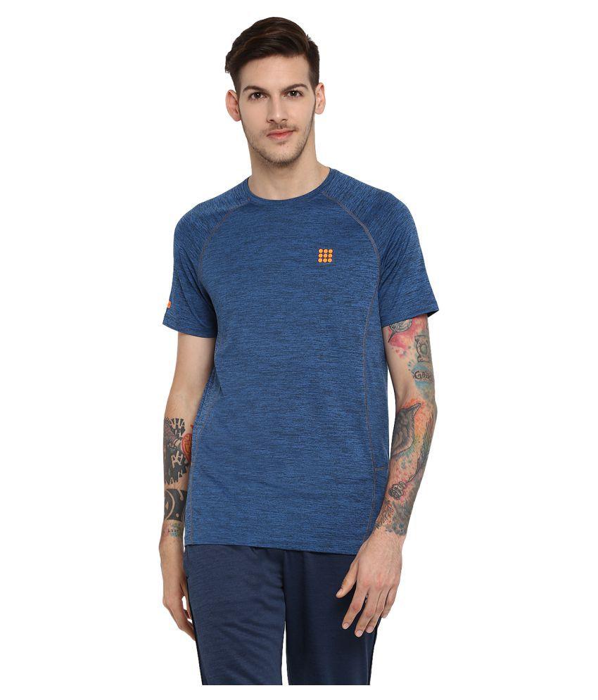 Rock.it Mens Blue Printed Round Neck SWIFT DRI T-Shirt