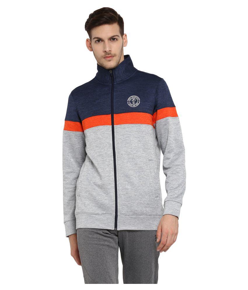 Rock.it Mens Grey Printed Polo Collar SWIFT DRI Sweatshirts