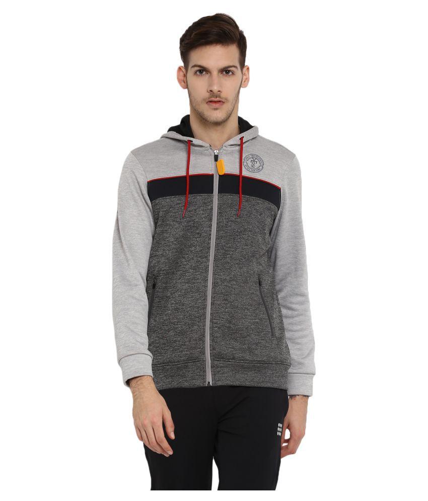 Rock.it Mens Grey Printed Hooded SWIFT DRI Sweatshirts