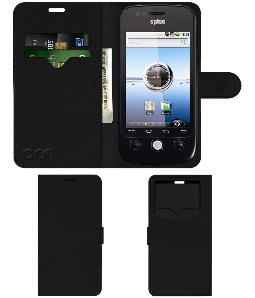 Spice Mi-300 Flip Cover by ACM - Black Wallet Case,Can store 2 Card & 1 Cash Pockets