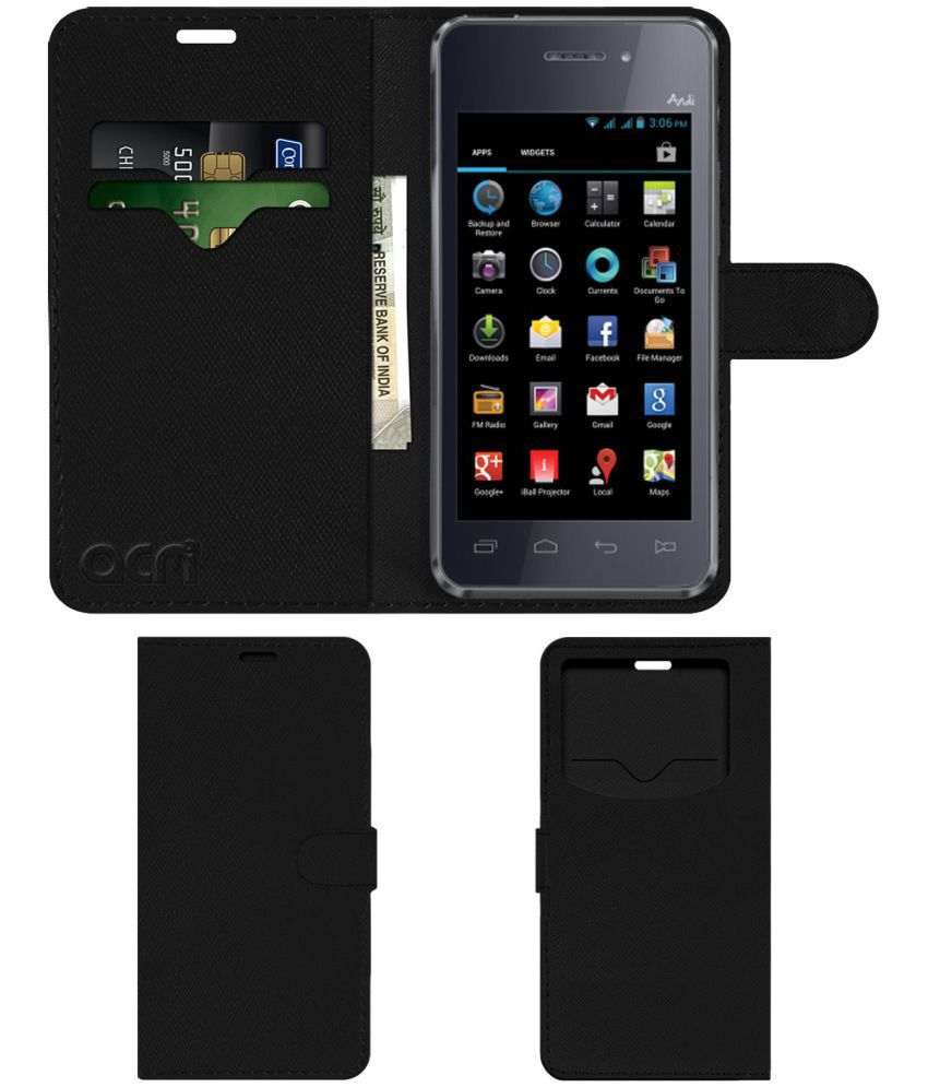 iBall Andi 4A Projector Flip Cover by ACM - Black Wallet Case,Can store 2 Card & 1 Cash Pockets
