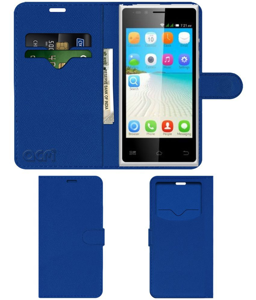 Bq E2 Flip Cover by ACM - Blue Wallet Case,Can store 2 Card & 1 Cash Pockets
