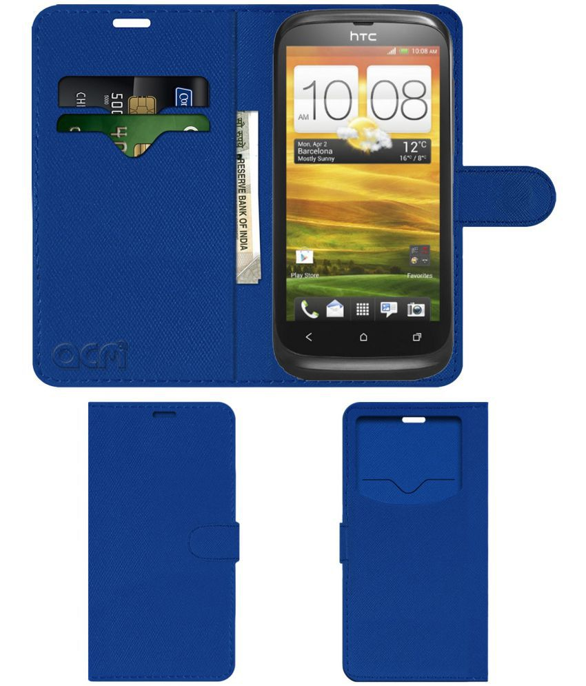 HTC Desire V Flip Cover by ACM - Blue Wallet Case,Can store 2 Card & 1 Cash Pockets