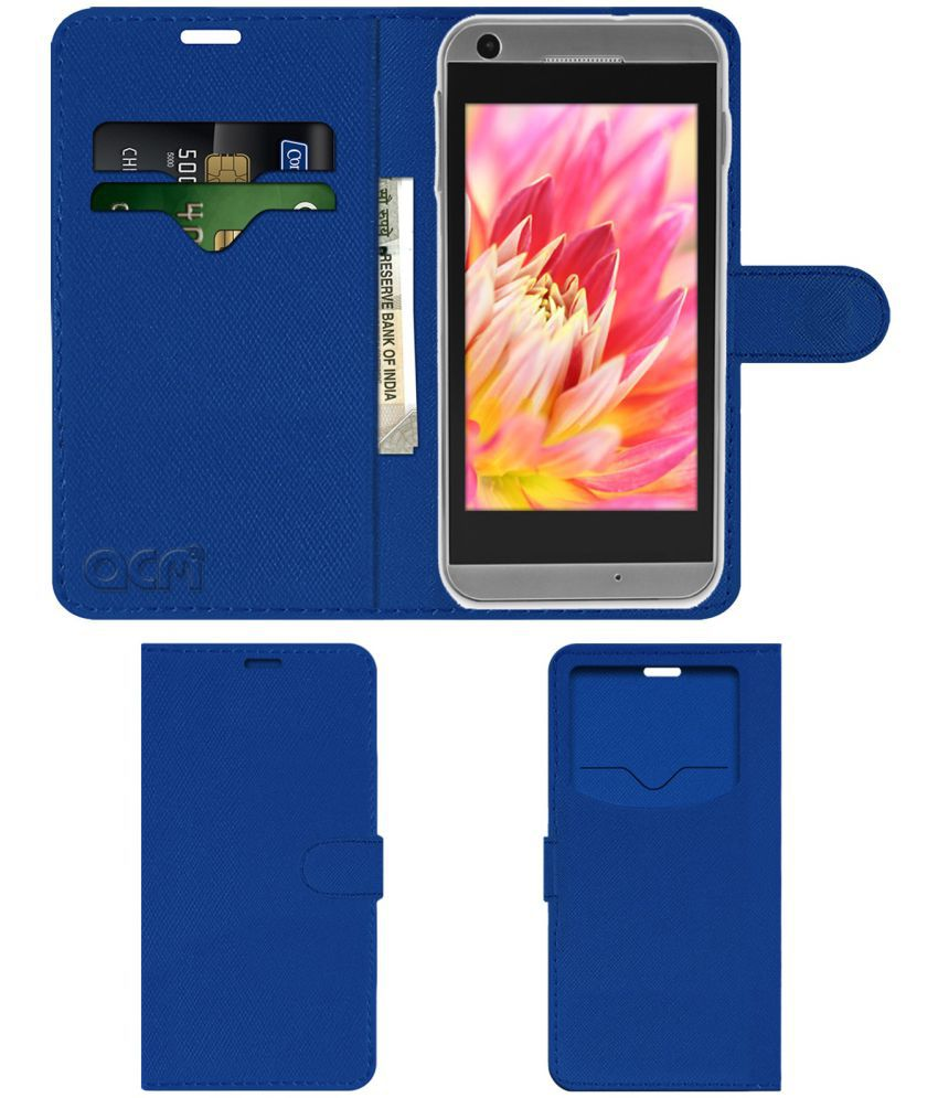 Lava Iris 405 Flip Cover by ACM - Blue Wallet Case,Can store 2 Card & 1 Cash Pockets
