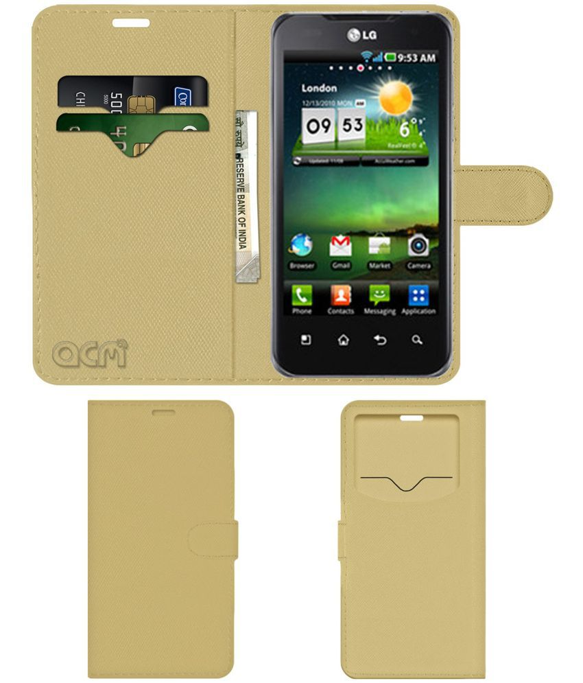 Lg Optimus 2x Flip Cover by ACM - Golden Wallet Case,Can store 2 Card & 1 Cash Pockets