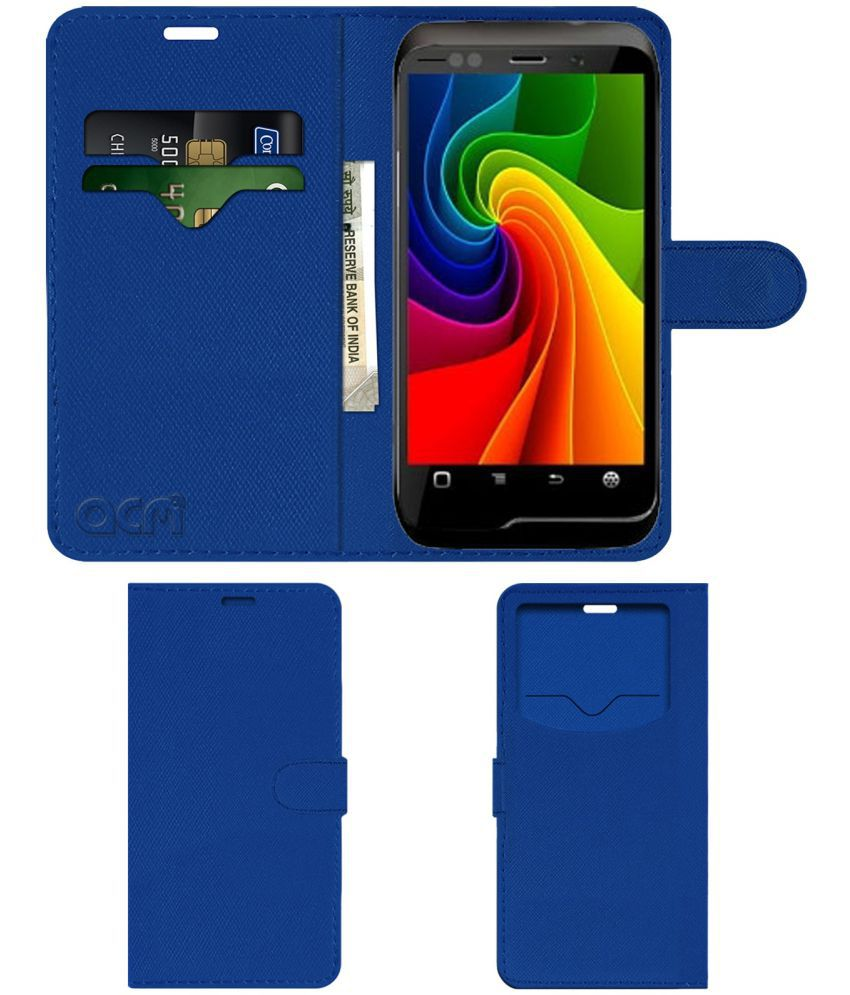 Micromax A85 Flip Cover by ACM - Blue Wallet Case,Can store 2 Card & 1 Cash Pockets