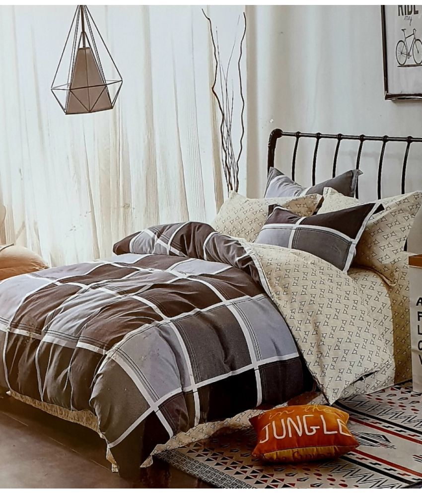 Nivs Home Decor Poly Cotton Double Bedsheet with 2 Pillow Covers