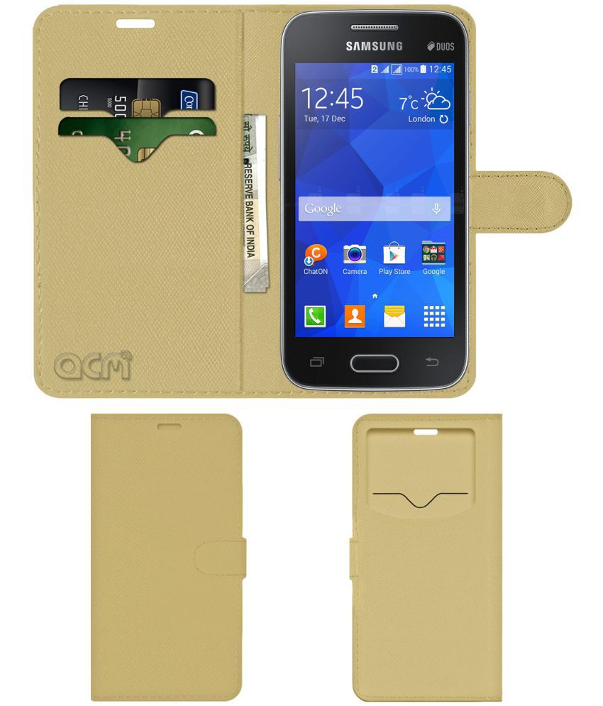 Samsung Galaxy Ace NXT Flip Cover by ACM - Golden Wallet Case,Can store 2  Card & 1 Cash Pockets