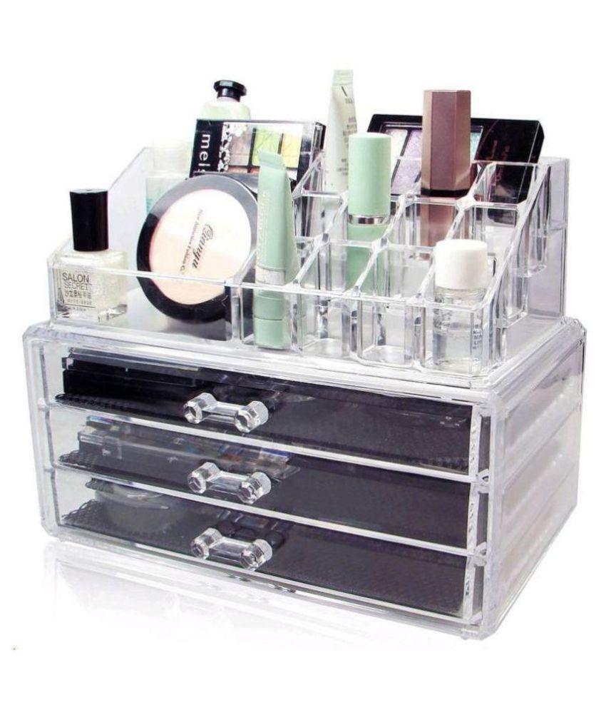5a40d617e369 ZEVORA Cosmetic Organizer Makeup Storage Box Lipstick Holder Stand with 3  Drawer Makeup box Vanity Box(Transparent)