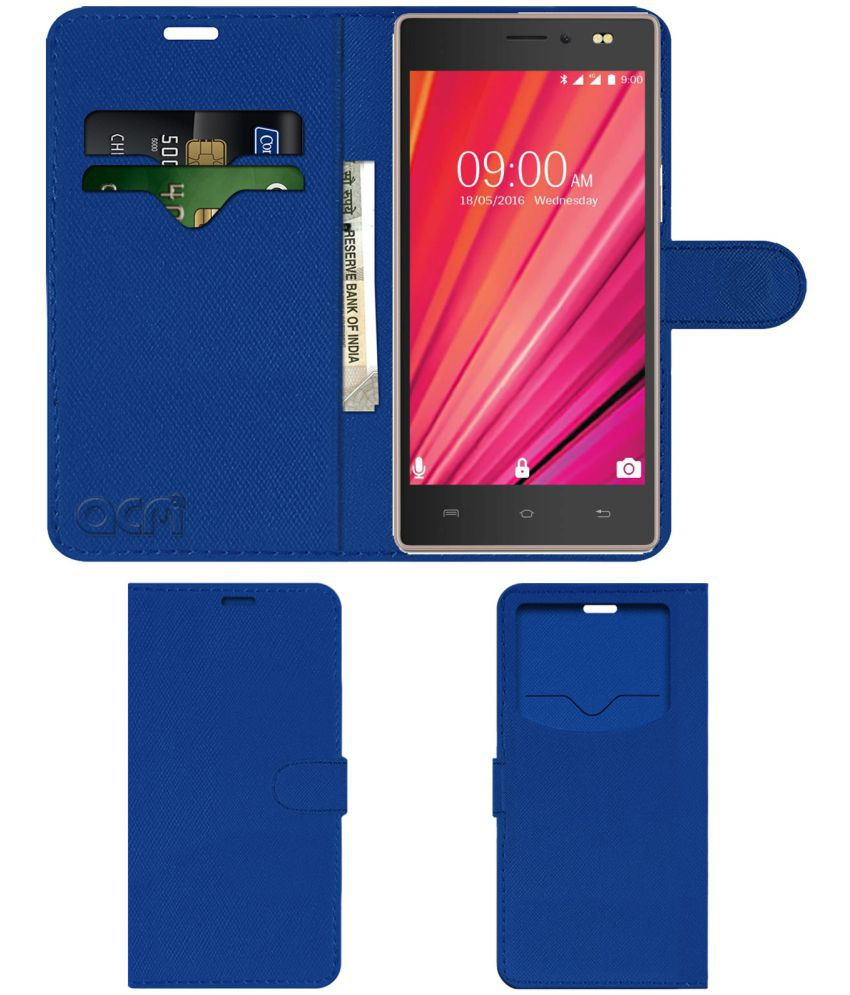 reputable site ae334 5c3ad Lava X17 4G Flip Cover by ACM - Blue Wallet Case,Can store 2 Card & 1 Cash  Pockets