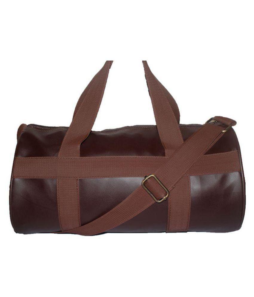 JaisBoy Medium Brown PU Leather Gym Bag Travel Duffle