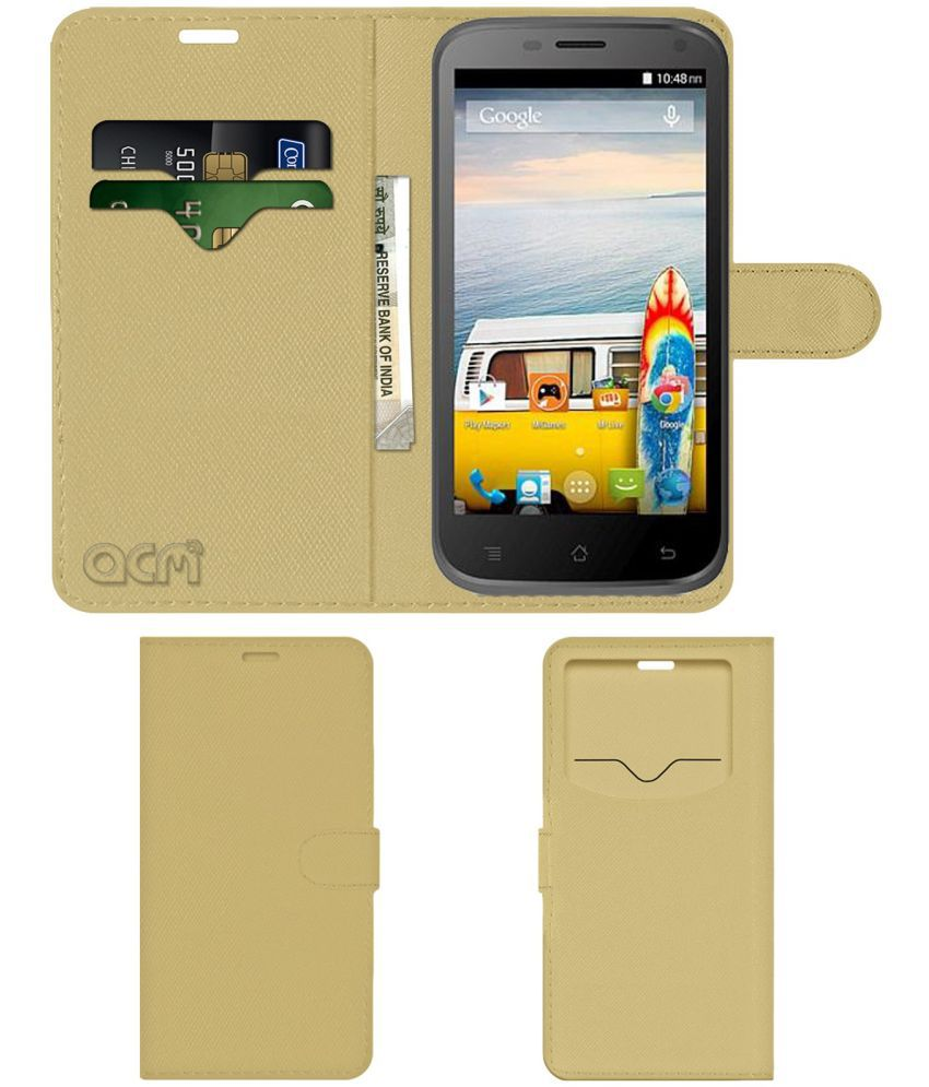 buy popular 3a203 958cb Micromax Bolt A82 Flip Cover by ACM - Golden Wallet Case,Can store 2 Card &  1 Cash Pockets