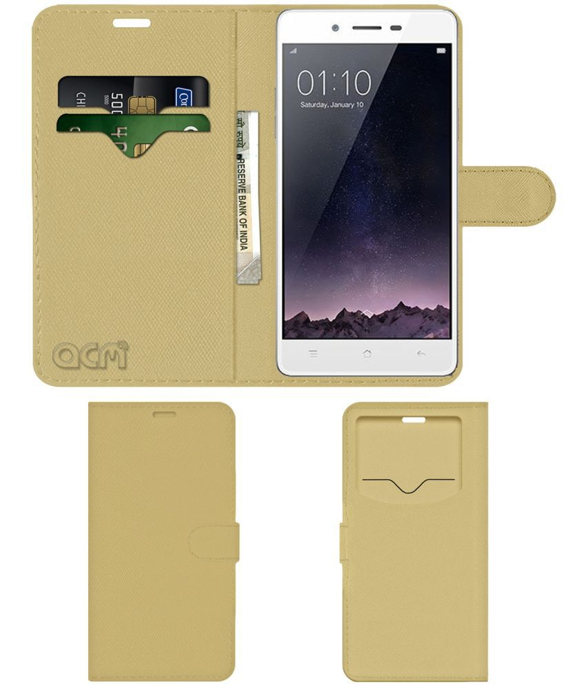 Oppo Mirror 5S Flip Cover by ACM - Golden Wallet Case,Can store 2 Card & 1 Cash Pockets