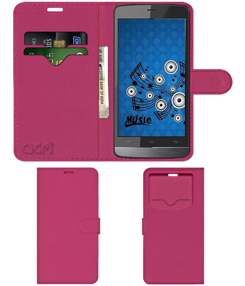Spice Stellar 518 Flip Cover by ACM - Pink Wallet Case,Can store 2 Card & 1 Cash Pockets
