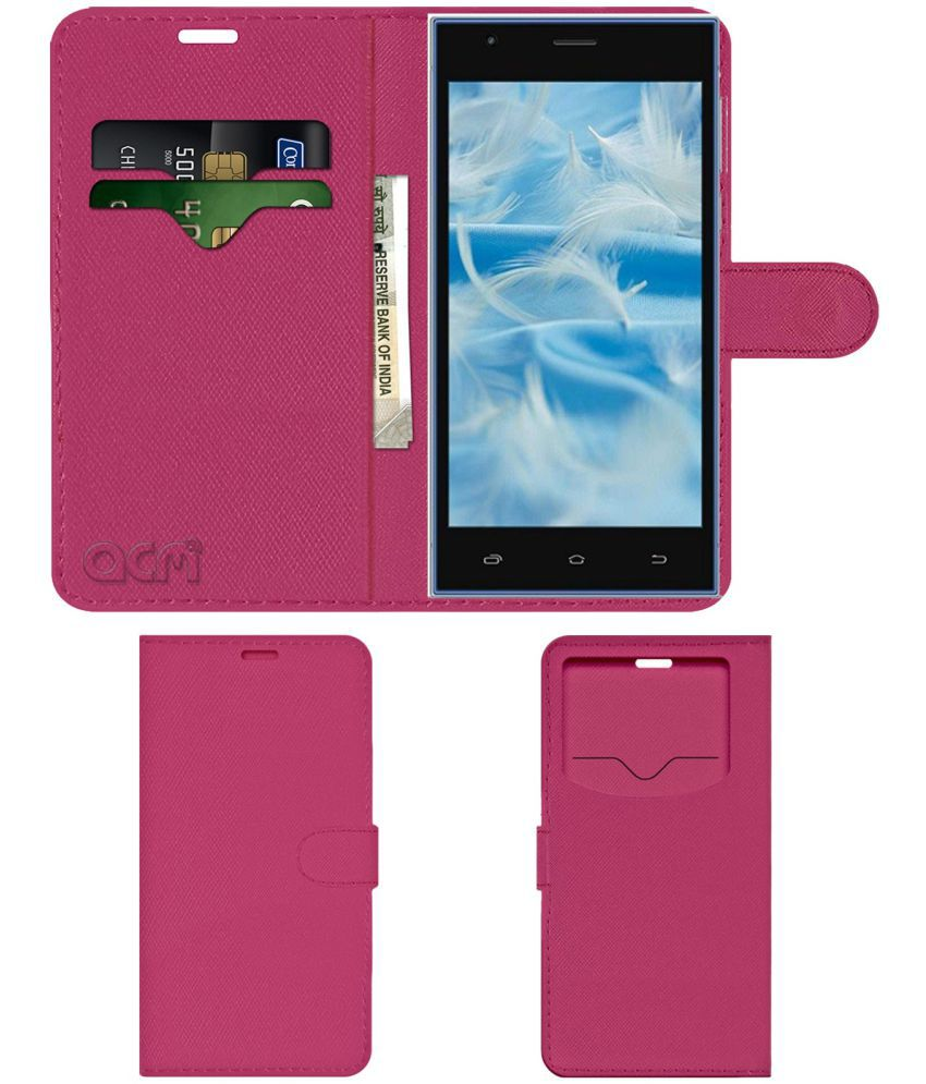 Spice Xlife M5q Plus Flip Cover by ACM - Pink Wallet Case,Can store 2 Card & 1 Cash Pockets