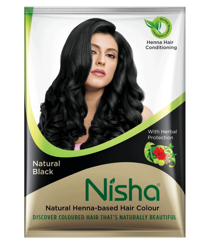 Nisha Henna based hair color Black Permanent Hair Color Black Black, Brown 10 gm Pack of 10