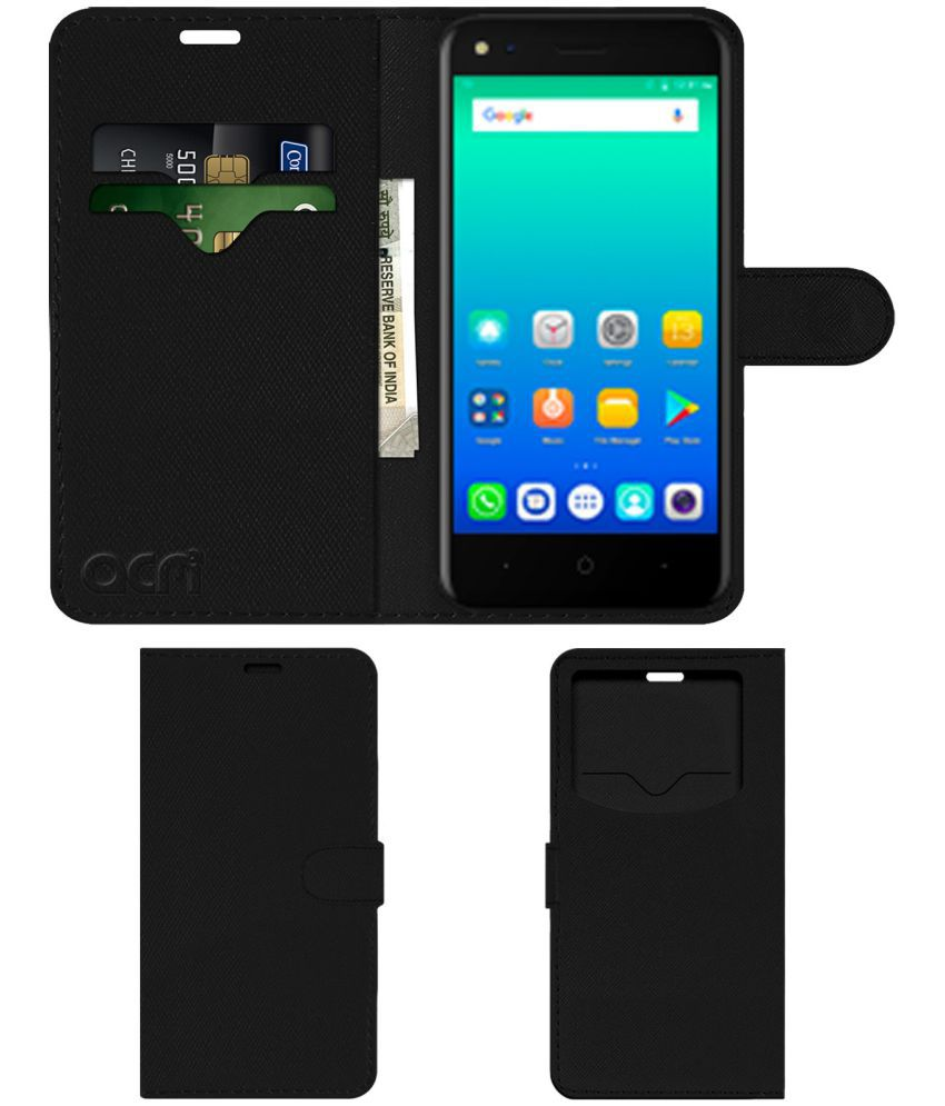 Micromax Bharat 3 Flip Cover by ACM - Black Wallet Case,Can store 2 Card & 1 Cash Pockets