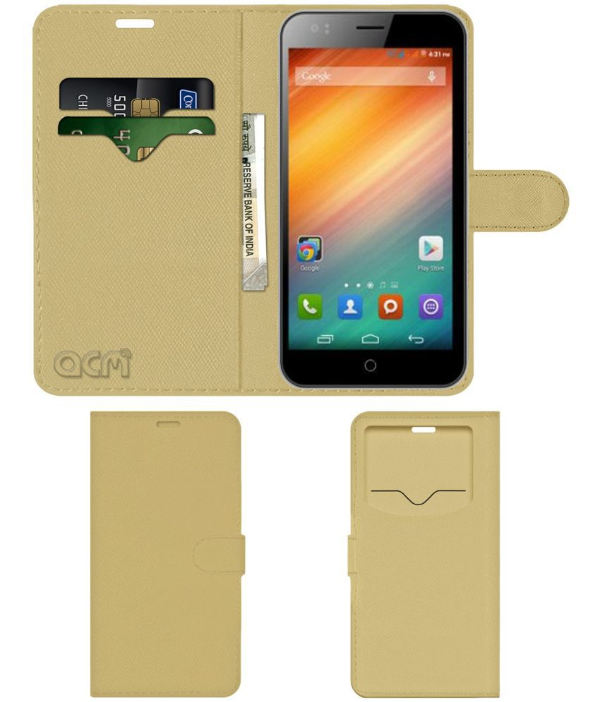 Spice Stellar 549 Flip Cover by ACM - Golden Wallet Case,Can store 2 Card & 1 Cash Pockets