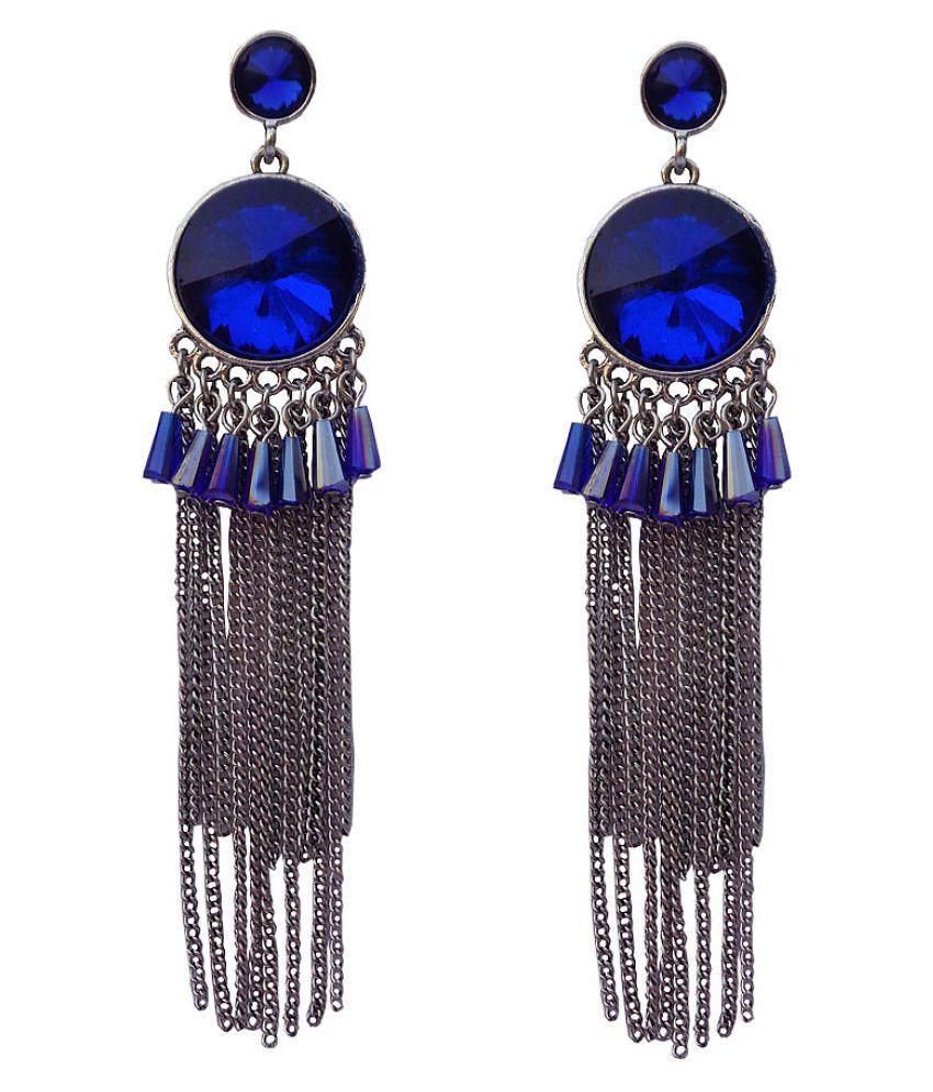 Trendeela Innaya Tasseled Dangle EarringsWith Blue Stone