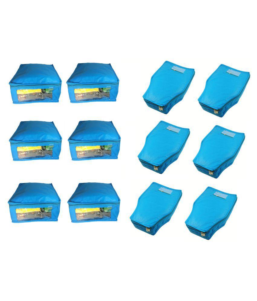 Aditi Collection Blue Saree Covers - 12 Pcs