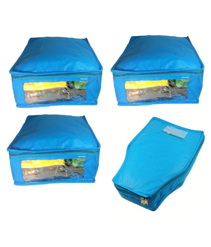 Aditi Collection Blue Saree Covers - 4 Pcs