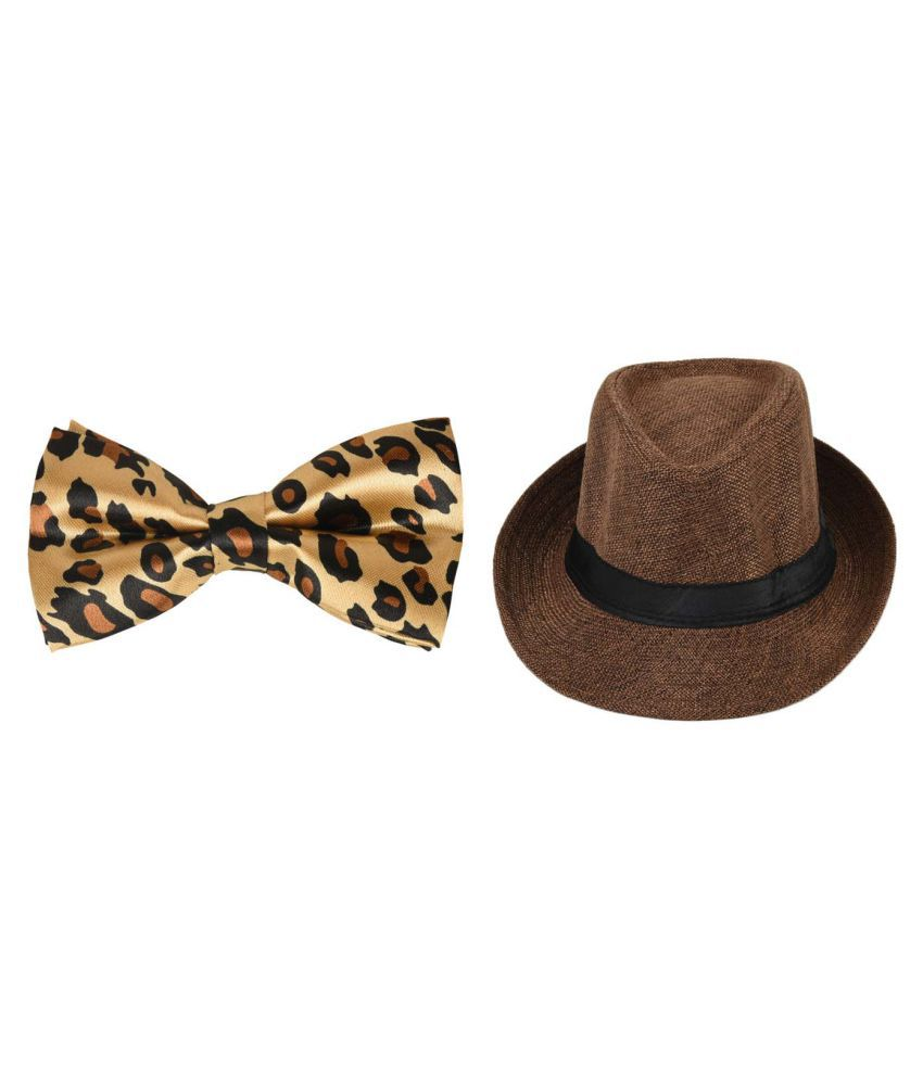 Tiekart A Smart Combo Party Look With Light Brown Designer Bow Tie and Brown Hat for Boys