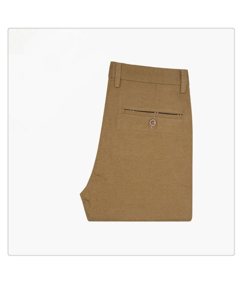 Louis Sun Khaki Regular -Fit Flat Trousers