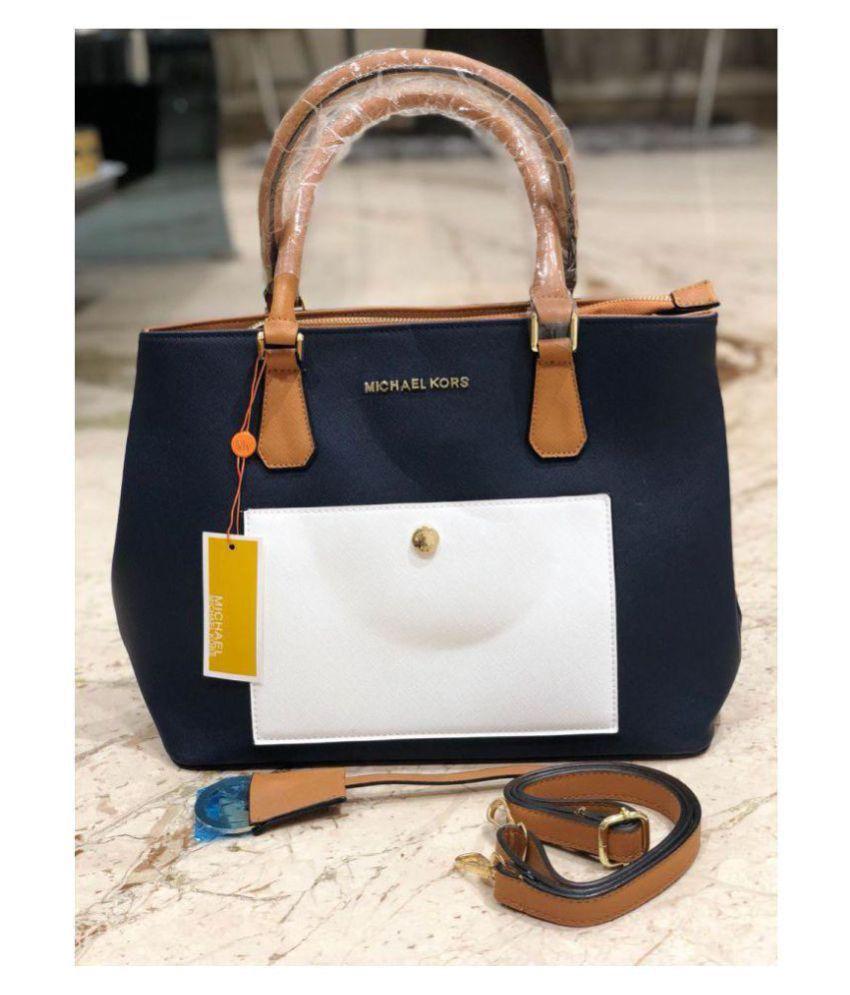 michael kors blue fabric shoulder bag buy michael kors blue fabric rh m snapdeal com
