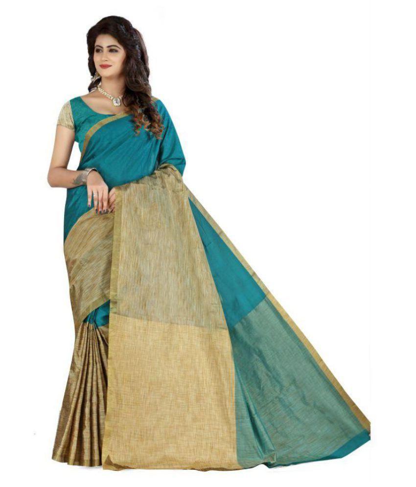 18MORE Green and Beige Cotton Silk Saree