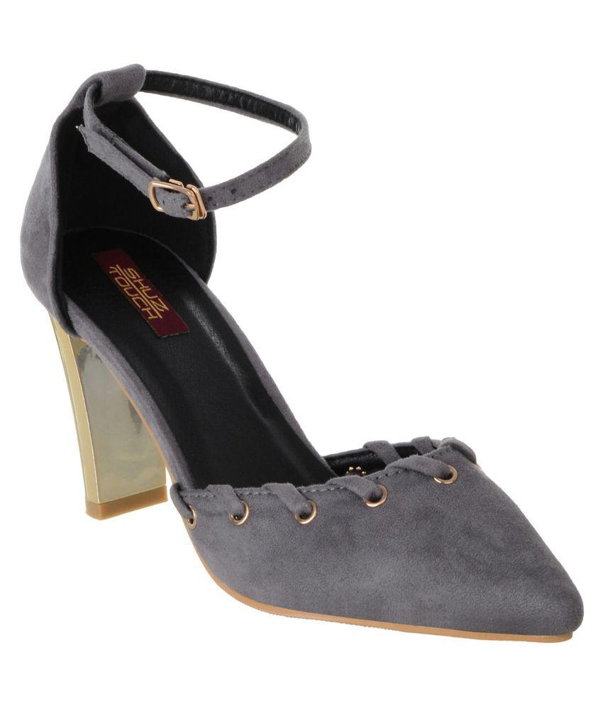 Shuz Touch Gray Block Heels