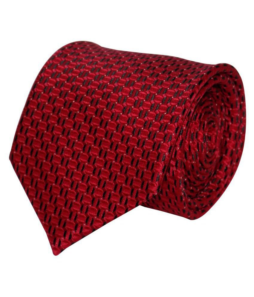 Forty Hands Red Printed Micro Fiber Necktie