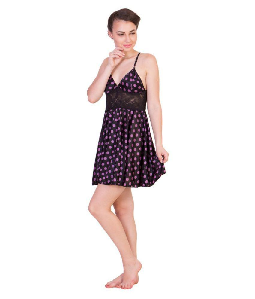 Buy Kissero Satin Baby Doll Dresses Without Panty - Black Online at ... abd786ba0
