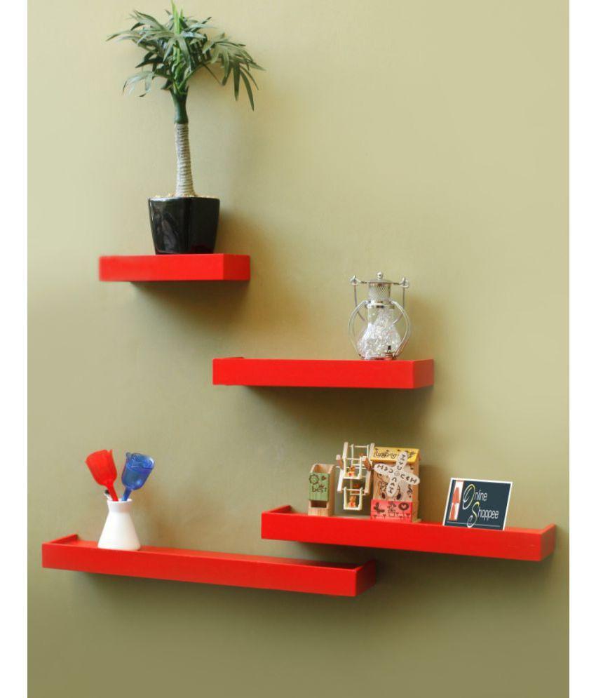 Onlineshoppee Floating Shelves Red MDF - Pack of 4
