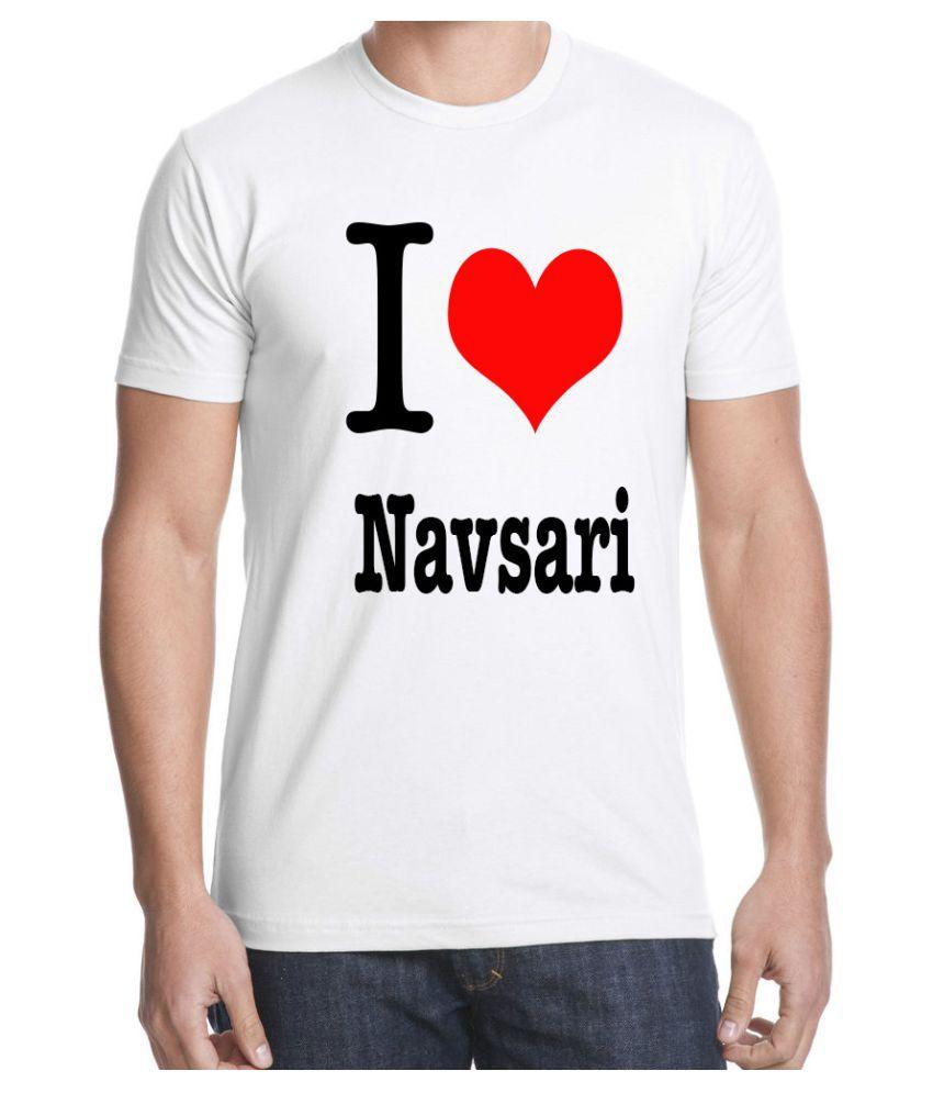 Ritzees Unisex Half Sleeve White Cotton T-Shirt Cotton T-Shirt I Love Navsari for Men, Women, Kids(White, 34)