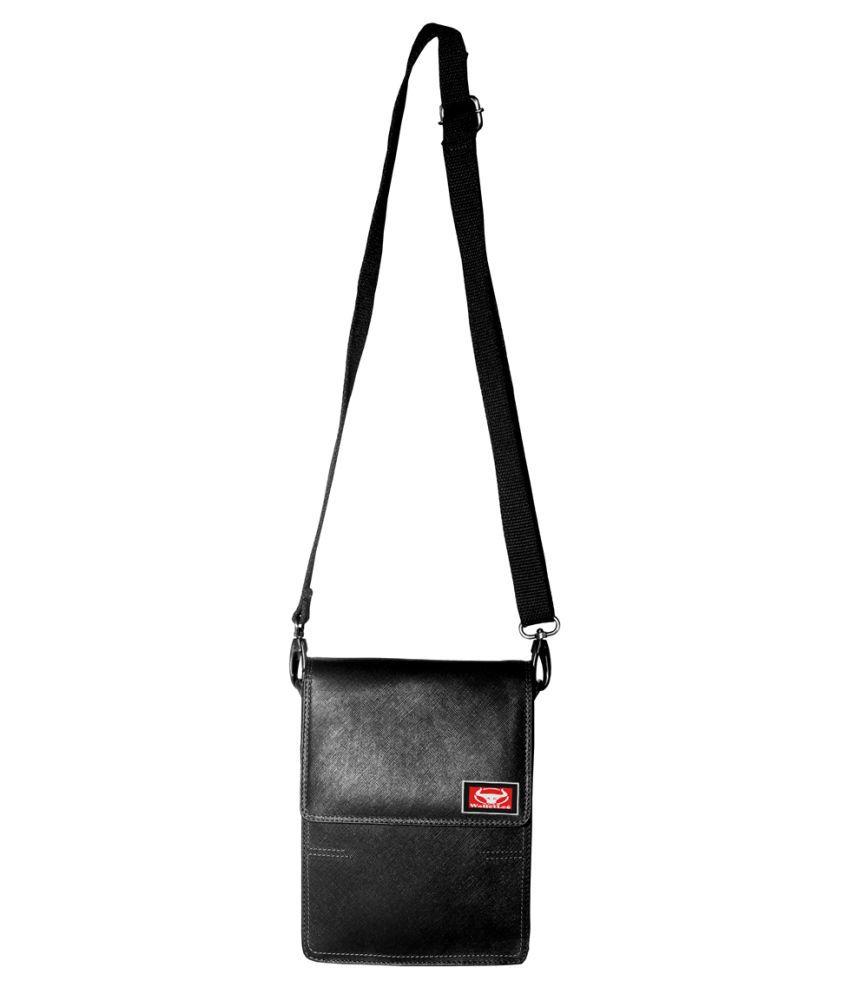 WalletLee LSBU17-WL_3 Black Leather Casual Messenger Bag
