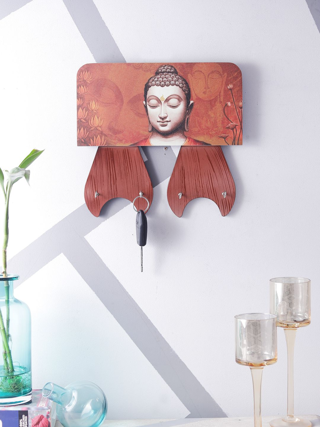 Home Sparkle Sparkling Digital Print Buddha On Wooden Frame Wall Art Wood Painting With Frame