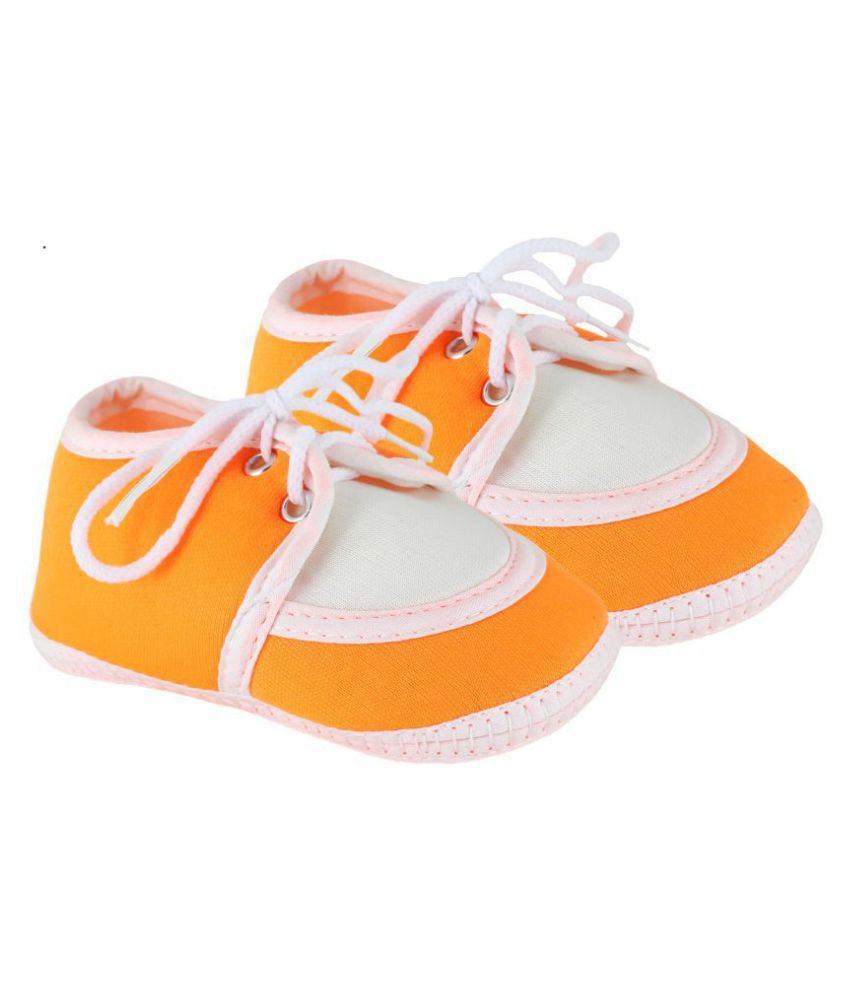 Neska Moda Baby Unisex Lace Orange Booties/Shoes For 0 To 12 Months Infants-SK136
