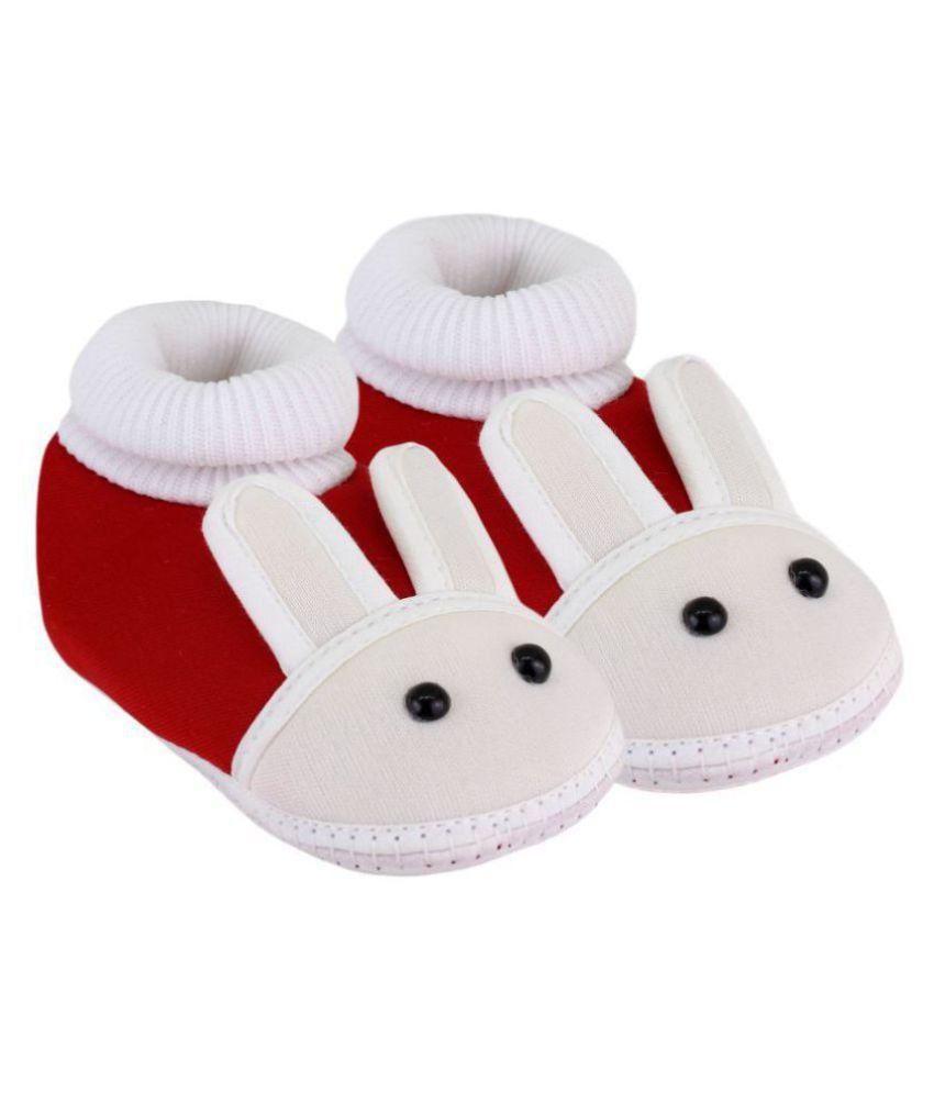 Neska Moda Baby Unisex Rabbit Maroon Booties/Shoes For 0 To 12 Months Infants-BT82