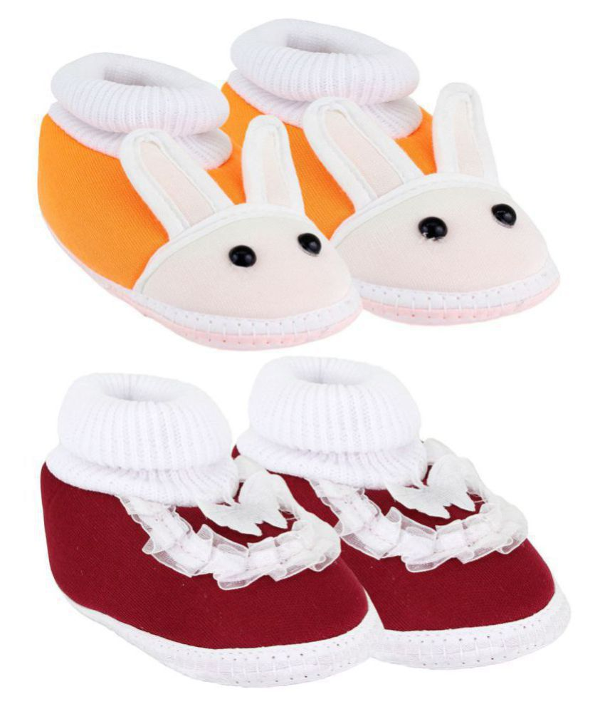 Neska Moda Pack Of 2 Baby Boys & Girls Orange And Maroon Cotton Booties For 0 To 12 Months