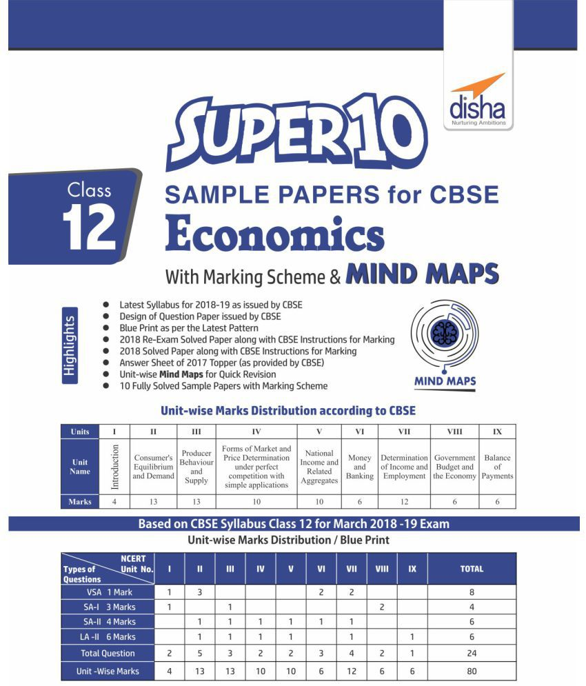 Super 10 Sample Papers for CBSE Class 12 Economics with Marking Scheme &  MINDMAPS