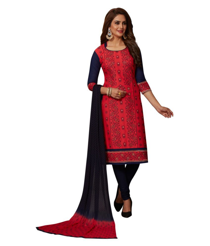 Women Shoppee Red and Black Cotton Dress Material