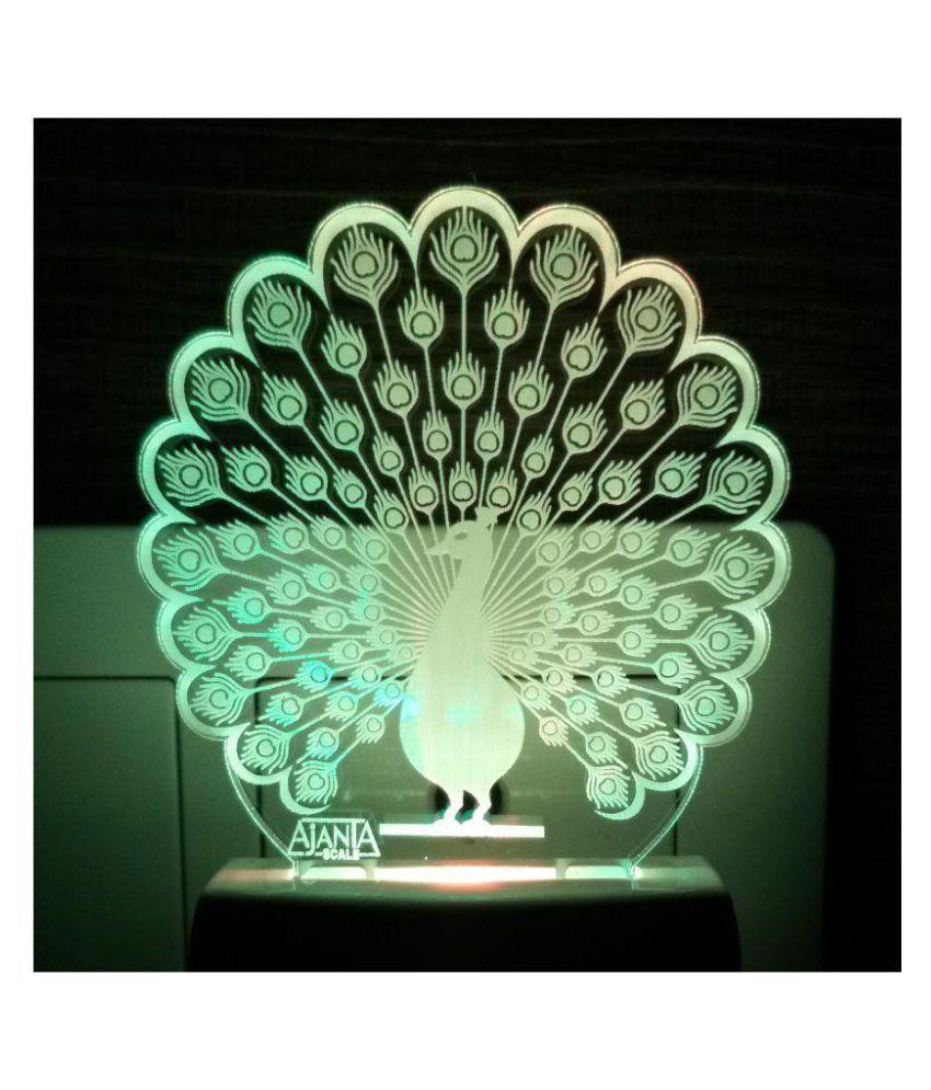 Ajanta Peacock Fancy code 2057 3D ( PEN STAND FREE ) Night Lamp Multi - Pack of 1