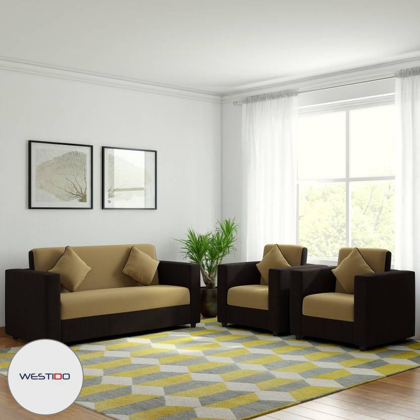 westido citrus fabric 3 1 1 cream brown sofa set with 4 filled rh snapdeal com