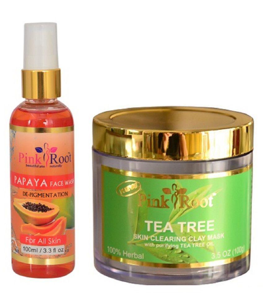 Pink Root Papaya Face Wash 100ml With Tea Tree Mask Day