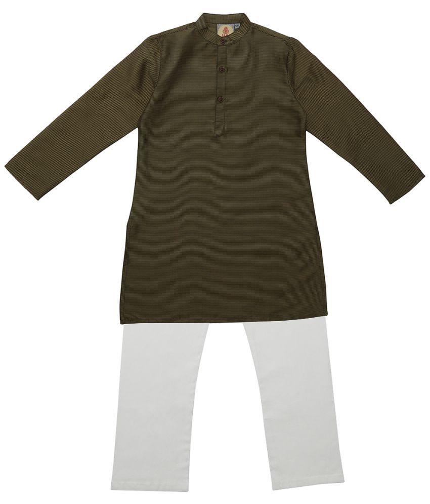 Salwar Studio Green & Gold Ethnic Wear Kids Cotton Kurta Pyjama Set For Boys