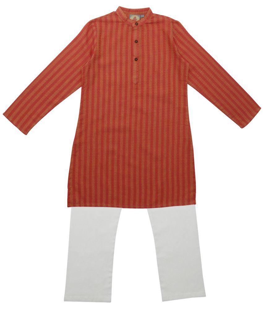 Salwar Studio Orange Ethnic Wear Kids Cotton Kurta Pyjama Set For Boys