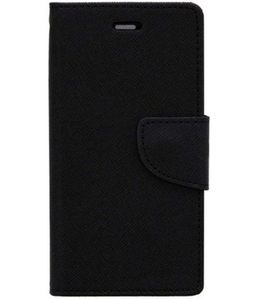 Sony Xperia C5 Flip Cover by Kosher Traders - Black Premium Mercury