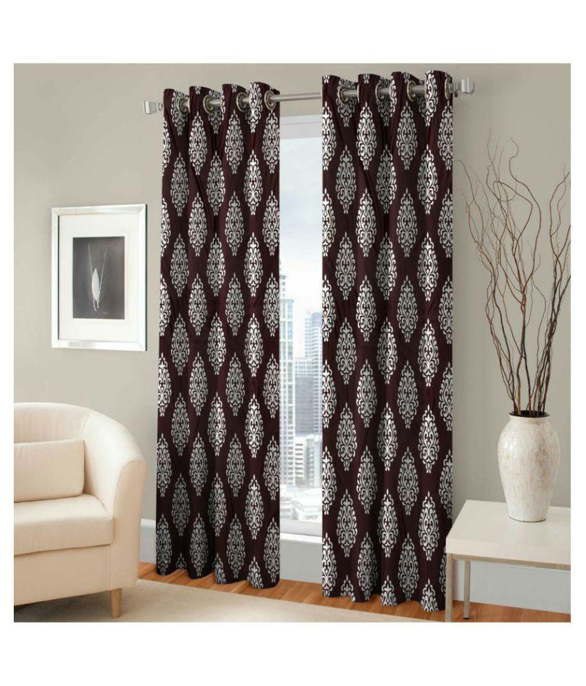 Swarnadeep Set of 2 Window Semi-Transparent Eyelet Polyester Curtains Brown