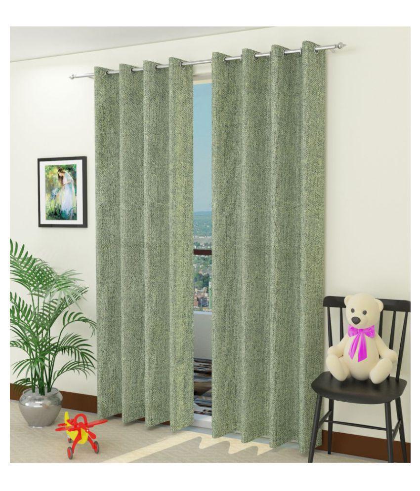 Swarnadeep Set of 2 Window Eyelet Polyester Curtains Green