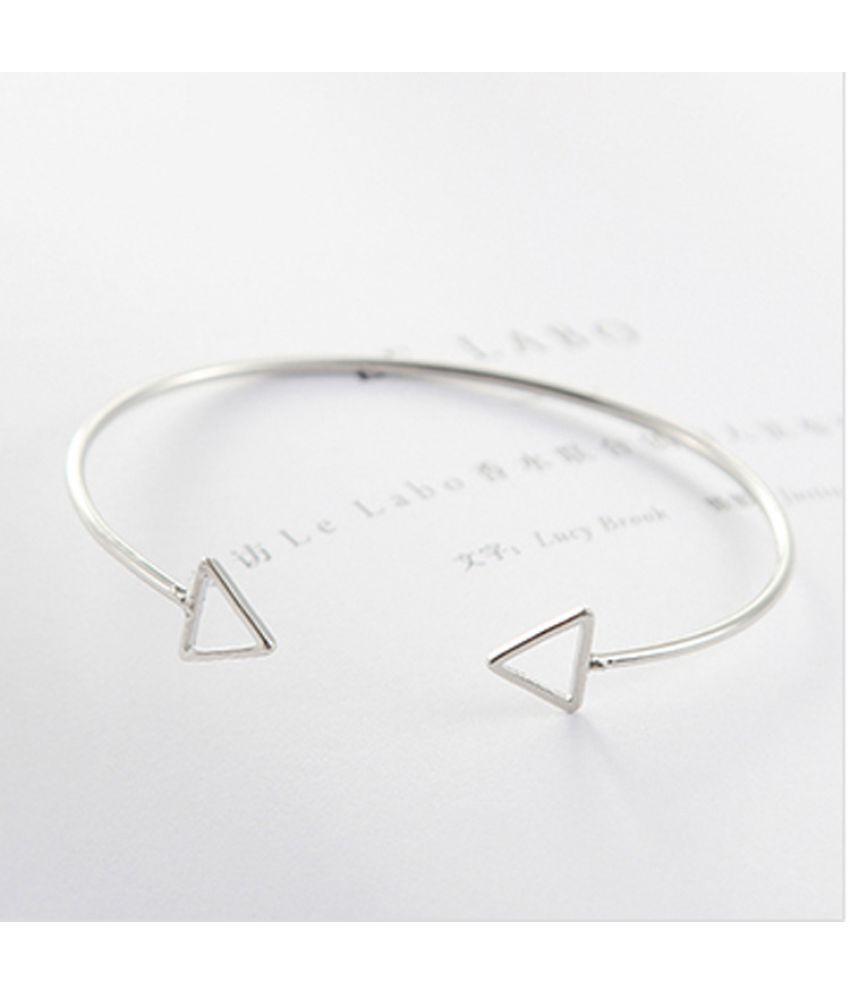 Fashion Simple Metal Ornaments Hollowed Triangle Geometric Modeling Open Bracelet Chain